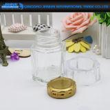 Choc en verre carré de miel avec le choc en verre de couvercle en métal jaune pour la nourriture, miel, mémoire