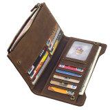 Оптовые цены хорошего качества подарком коричневый кожаный кошелек RFID кредитные карты Wallet