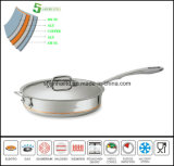 5ply Body Flat Pan Copper Core Saucepan
