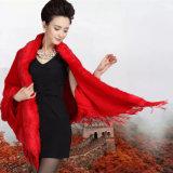 Fashion Triangular Acrylic Knitted女性のどの毛皮のフリンジのショール(YKY4473)