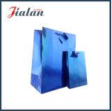 Saco holográfico do pacote do presente da cor azul com Tag