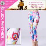 Guêtres de femmes de Spandex de polyester de forme physique de qualité d'OEM de vêtement de gymnastique