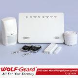 Batería integrada con cable inalámbricos GSM ladrón inteligente sistema de alarma de intruso en casa con la salida de reproducción
