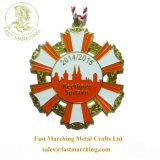 カスタム昇進の印刷は円形浮彫りのタイルフリーメーソンのメダル締縄をピンで止める