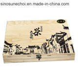 Подгонянная деревянная коробка для красного вина с Silk логосом печатание