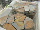 그물에 걸린 베이지색 시골풍 무작위 Flagstone 도와 슬레이트 포장