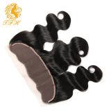 Tfh 13X4 Lace Corpo de Cor Natural Frontal do cabelo humano Virgem de onda de orelha a orelha de Renda Brasileira Fecho Frontal