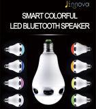 Altofalante sem fio de Bluetooth do bulbo ajustável do diodo emissor de luz das cores E27 para o telefone esperto