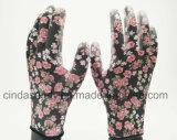 Яркие цветы в саду печати рабочих PU покрытием перчатки