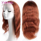 Perruque de lacet de cheveux brésiliens de vague de corps de la couleur #33 pleine