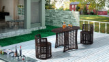 Mobília de vime do jardim do PE-Rattan do pátio ao ar livre da qualidade superior que janta o jogo por Cadeira e pela tabela lateral de duas camadas (YT591) que usam-se para o jogo do balcão