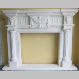Carrara White Marble Carving Fireplaces per Indoor Decoration