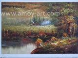 Pittura a olio dipinta a mano di paesaggio di silvicoltura su tela di canapa