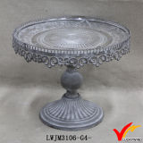 Shabby Chic Metal Cake Stand con cristales colgantes