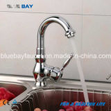 Choisir le robinet en laiton de cuisine de mélangeur de Hot&Cold de taraud d'eau de chrome de traitement