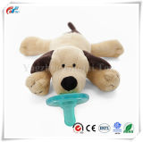柔らかいBrwonの子犬デザイン動物のプラシ天の調停者の赤ん坊のおもちゃ