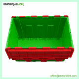 Sólido en movimiento y contenedores de plástico apilables encajables con tapa