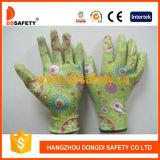 Ddsafety 2017 grünes Nylonblumen-Entwurfs-Shell-transparente Nitril-Beschichtung-Handschuhe