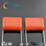 De gemetalliseerde Condensator van de Film Ploypropylene (CBB22 205/400 P=20) voor Filter, het mijden, het Koppelen, het Loskoppelen, van de Timing, het Stemmen en van de Temperatuur Compensatie
