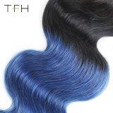 Virgem brasileira de tafetá cor de cabelo cor humano 1b/Azul Remy Extensões de cabelo cor de dois tons de onda do corpo (pêlos TFH18)