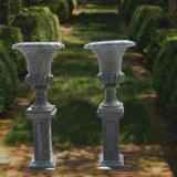 Urna di marmo intagliata mano con la base, per la decorazione del giardino
