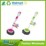 Limpieza de los lados dobles Esponja Lavar el cepillo del plato con la manija plástica