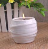 Imbarcazione di ceramica bianca lustrata lucida della candela