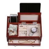 Коробка ювелирных изделий отделки грецкого ореха Burlwood деревянного дрессера людей верхняя темная