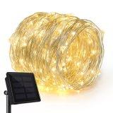 Angeschaltenes im Freien Solarkupfer der Fee-LED/silberner Draht beleuchtet Zeichenkette 2018