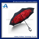 De promotie Paraplu van de Auto's van het Handvat van de Vorm van het Punt C Hand Omgekeerde Rechte