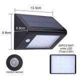 Luz al aire libre de la seguridad del movimiento de la energía solar PIR de la pared de la luz solar 20 LED IP65 Watreproof del sensor