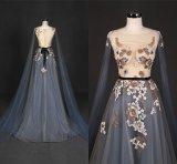 Configurations bleues de broderie de la robe Wt337 de soirée de lacet