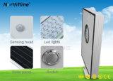 luz de calle solar toda junta 15W con el teléfono APP del sensor de movimiento