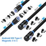 Magnetische oplaadkabel voor mobiele telefoons, Android, iOS, type-C Magnetic Joint 3 in 1 (3/6 FT rechte kabel, 3/6 FT L-vormige kabel) zwart