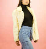 Cappotto di pelliccia bianco come la neve del coniglio della signora Fashion Warm Overcoat Winter