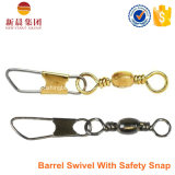 Latão Material Barrel Swivel with Safety Snap Fishing Swivel