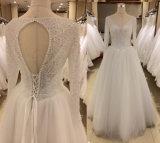 Langes Hülsen-Hochzeits-Kleid mit Diamanten