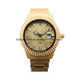 남자 여자를 위한 남녀 공통 날짜 기능 녹색 백단향 손목 시계