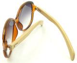 Grand bâti Sunglass, lunettes de soleil en bambou de tempe, glaces de la qualité Fqpw16801 de Sun de femmes de mode