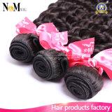 6A加工されていない巻き毛のブラジルのバージンの毛の拡張深い波100%の人間の毛髪の編むよこ糸