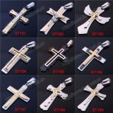 De eenvoudige Ontwerpen van de Halsband van de Tegenhanger van het Roestvrij staal van het Metaal Mens Dwars Dwars Zwarte Dwars (iO-St000000)