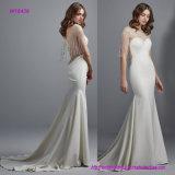 Erweitern sich wulstige Illusion Schutzkappe-Hülsen und Schaufel-rückseitiges Hochzeits-Kleid