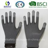 вкладыш 13G Гэри Nylon с белыми перчатками безопасности покрытия конца перста PU (SL-PU205G)