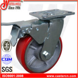 Hochleistungsroheisen PU-steife Fußrolle mit seitlicher Bremse