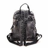 Os rebites do estilo de tendências Senhoras Mochila Denim Bag (MBNO040037)