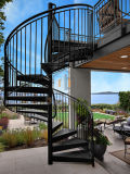 Escalera espiral de cristal al aire libre del acero inoxidable con la barandilla de acero