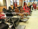 Salón de belleza Silla de barbero para el hombre de acero inoxidable con apoyabrazos y pedales de aluminio