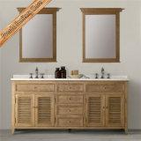 Module de salle de bains en bois de finissage de Fed-1680b Matt en bois solide de vanité blanche de salle de bains