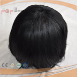 Hand Tied Full Lace PU Edge Border Encerrado Cabelo Humano Natural Color Hair Piece Toupee