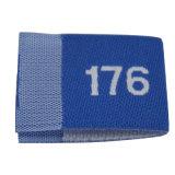 Tissu bleu taille des étiquettes tissées